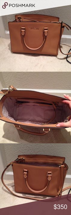 Authentic Michael Kors Selma Tan Authentic michael kors selma, either or medium or large. Can fit a mac book and plenty other things. In a beautiful light tan color. Comes with dust bag and strap. Michael Kors Bags Totes