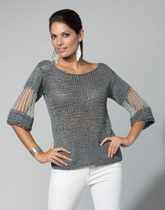 KATIA Official Website - Knitting yarns, fabrics, books and free patterns by Katia Summer Sweaters, Sweaters For Women, Crochet Blouse, Knit Crochet, Crochet Woman, Crochet Clothes, Diy Clothes, Pull Court, Diy Kleidung