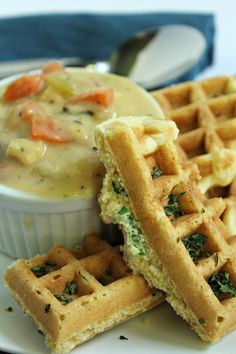 Savory Cornmeal Waffles - Great for dipping in your favorite soup! #healthy www.thecrowdedtable.com