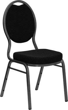 Elegant Flash Furniture HERCULES Series Teardrop Back Stacking Banquet Chair W/  Black Patterned Fabric And Thick Seat   Silver Vein Frame
