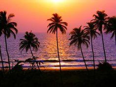 Magnifique coucher de soleil au bord de la mer