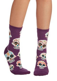 Get a Head Start Socks. You still have a few hours until your friends arrive for tonights movie marathon, but youre already settling into a mindset of relaxation since youve just slipped your toes into these purple socks! #purple #modcloth