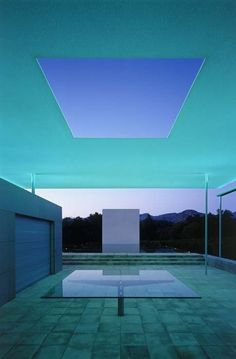 The Pavilion, Pool House San Francisco-based architect Jim Jennings worked in close collaboration with James Turrell and Tom Leader to realize the artist's vision for the Skyspaces, and to relate the elements of earth, water and sky to one another James Turrell, Light Installation, Art Installations, My Pool, Light And Space, Space Architecture, Light Art, Color Theory, Pavilion