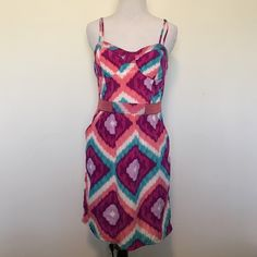 American Eagle Strappy Colorful Abstract  Dress Super cute dress by American Eagle. Adjustable straps. Corset boning, back zip closure. Has never been worn. Size 6. ❌ NO TRADES ❌ NO LOWBALLING ❌ American Eagle Outfitters Dresses Midi