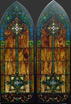 Antique American Arched Stained Glass Windows in Bronze Frames in Antiques, Architectural & Garden, Stained Glass Windows Stained Glass Designs, Stained Glass Panels, Stained Glass Projects, Leaded Glass, Beveled Glass, Stained Glass Art, Mosaic Glass, Art Nouveau, Art Deco