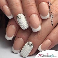 36 New French Manicure Designs To Modernize The Classic Mani - Nail Designs - Nail Art Designs, French Manicure Nail Designs, Pedicure Designs, Nails French Design, Nails Design, Minion Nails, 3d Nails, Manicure And Pedicure, Cute Nails