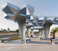 Boston's Höweler + Yoon has stitched together steel modules to form a faceted canopy that shades an urban pocket park in the desert city of Phoenix, Arizona