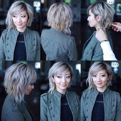 These great short layered bob with bangs images here will guide for a new appereance and amazing experience. Let's take a look these chic short haircuts Medium Hair Cuts, Short Hair Cuts, Medium Hair Styles, Curly Hair Styles, Medium Bob With Bangs, Choppy Bob With Bangs, Long Bangs, Pixie Cuts, Short Pixie