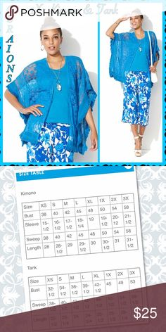 """Curations Kimono & Tank Set - TURQUOISE  -1X Curations Kimono & Tank Set - TURQ -1X - RET $52.93   BRAND NEW Fit by Fullest Part of Bust:  SEE PHOTOS FOR SIZE CHART.  • Open front Style • Kimono Sleeves • Fabrication: Jersey blend • Hemline:Straight • Body Length (Kimono) 29""""L - (Tank): 24""""L • Kimono: Semi-Fitted: Designed for 3 to 4 inches of ease.  • Tank: Fitted: Designed for 2 to 3 inches of ease.  • Kimono: 75% cotton, 25% nylon (crochet fabric); 100% cotton (lace)  • Tank: 95% cotton…"""