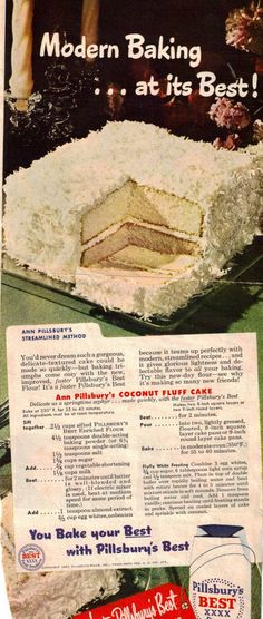 Coconut Fluff Cake – Vintage Recipe Clipping | RecipeCurio.com