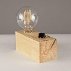 Lámpara de sobremesa madera reciclada pino Campelo 50