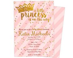 Princess Baby Shower Invitation - Pink and Gold Princess Baby Shower Invite - Crown Little Princess Girl Baby Shower Invites
