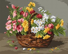 Z4234 Kosárnyi színes virág 20 x 25 cm Cross Stitch Borders, Cross Stitch Flowers, Cross Stitch Patterns, Flower Canvas, Canvas Designs, Stitch 2, Flower Basket, Cross Stitch Embroidery, Needlepoint