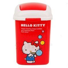 Sanrio Hello Kitty Mini Trash Can Bin Desktop Wastebasket Red Living Accessory #HelloKitty