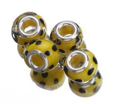 Yellow Black Dot 9.5x14.5mm 925 Sterling Silver Core Glass Charms Jewelry European Beads