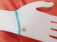 Bracelet Beaded Bracelet Star bracelet Aqua color Glass