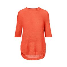 Ralph Lauren Lauren Short-Sleeve Crewneck Sweater (120 AUD) ❤ liked on Polyvore featuring tops, sweaters, drape sweater, red top, ralph lauren, drapey sweater and asymmetrical hem sweater