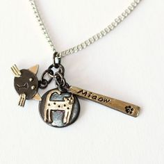 Brass & Bronze Miaow Cat Necklace at Tattypuss - Beautiful hand-crafted Jewellery by Penny Williams.