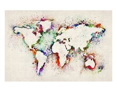 Map of the World Paint Splashes Impressão giclée premium por Michael Tompsett na AllPosters.com.br