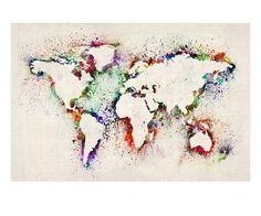 Map of the World Paint Splashes Impressão giclée premium por Michael Tompsett na AllPosters.com.br