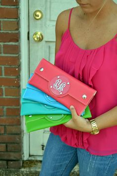 Monogram Clutch Envelope Purse  Bridesmaid by embellishboutiquellc