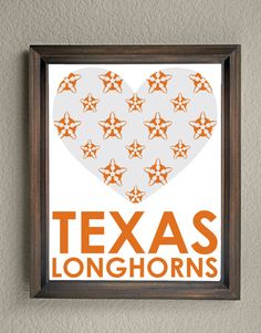This colorful University of Texas Heart Print is an original pattern, designed…