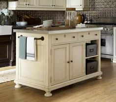 River House Kitchen Island with Stainless Steel Top