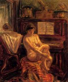 Nude at the Piano (1928). John French Sloan (American, 1871-1951). Oil and tempera on panel.  After about 1930 Sloan painted no more city scenes but became increasingly concerned with studies of the nude. The late paintings are monumental and technically innovative. In contrast to the direct execution of his earlier work, these are carefully constructed with monochrome underpainting, upon which an elaborate surface of bold cross-hatchings in colour gives startling relief.