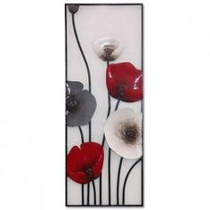 Closed Poppy Panel Wall Art - Red and Black