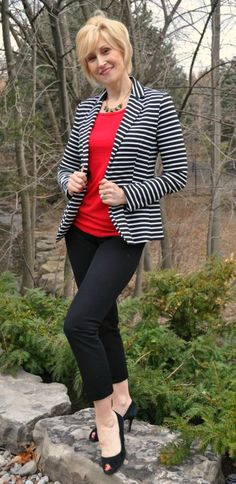 black pants - red top - black and white striped blazer - black shoes