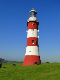 Eddystone lighthouse (Smeaton's Tower) at Plymouth Hoe, Devon