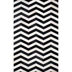 Wade Logan Arrowpoint Cowhide Hand -Tufted Black/White Area Rug Rug Size: 5' x 8'