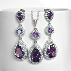 Amethyst Purple Cubic Zirconia CZ Bridal Necklace and Earring Set, Bridal, Wedding Purple Wedding Jewelry, Bridesmaid Jewelry, Bridal Necklace, Bridal Jewelry, Look Vintage, Rhinestone Jewelry, How To Make Earrings, Beautiful Necklaces, Beautiful Rings