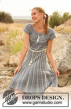Dress with garter stitch skirt worked from side to side with short rows and stripes