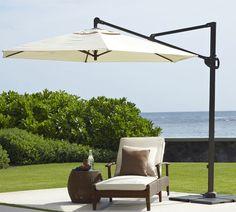 Sunbrella® Round Cantilever Umbrella - Solid | Pottery Barn