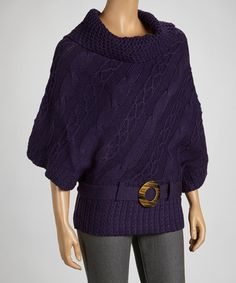 Take a look at this Eggplant Belted Sweater by Carducci on #zulily today!