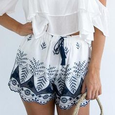 Lace Embroidered Drawstring Shorts