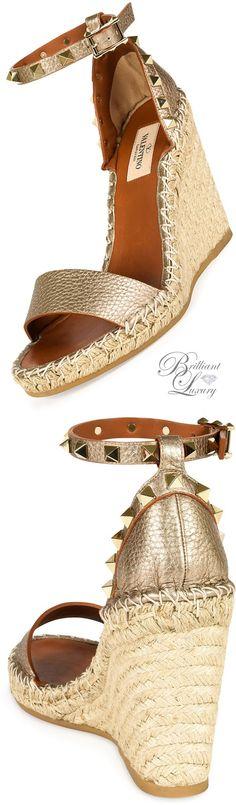 Brilliant Luxury * Valentino Metallic Leather Rockstud Espadrille Sandal