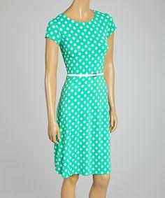 Mint Coin Dot Belted Crewneck Dress