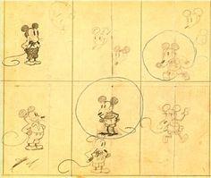 Un des premiers dessins de Mickey Mouse par Walt Disney. C'était en 1928, pour le court-métrage « Steamboat Willie ».