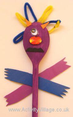 Wooden spoon monster puppet