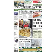 The front page of the Taunton Daily Gazette for Thursday, Nov. 27, 2014.
