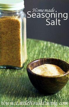 Homemade Seasoning Salt Recipe - Skip the chemicals and preservatives (and MSG!) of the store version with this recipe. Seasoning Salt Recipe, Homemade Seasoning Salt, Homemade Spices, Seasoning Mixes, Homemade Recipe, No Salt Recipes, Real Food Recipes, Cooking Recipes, Yummy Food