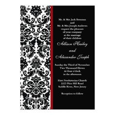 20 best black white and red wedding invitations images on pinterest