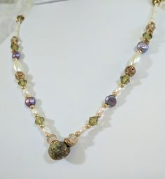 Stone, Freshwater Pearl, and Crystal Chain