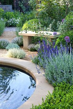 Fifteen Gardening Recommendations On How To Get A Great Backyard Garden Devoid Of Too Much Time Expended On Gardening Seating Area Around Pond In Modern Mediterranean Style Garden Gravel Garden, Garden Landscaping, Water Garden, Garden Benches, Landscaping Ideas, Pavers Ideas, Back Gardens, Outdoor Gardens, Ponds For Small Gardens