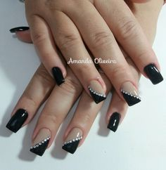 lindo!!!! Glitter Gradient Nails, Sparkle Nails, Gold Nails, Black Silver Nails, Pearl Nails, Best Acrylic Nails, Square Nails, Stylish Nails, Fabulous Nails