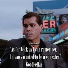 """As far back as I can remember, I always wanted to be a gangster"" -GoodFellas Ray Liotta  .  .  .  .    #motivation #motivational #goodfellas #inspirational #ambitious #quote #mafia #gangsters #gangster #mobster #mob #thegodfather #scarface  #godfather #moviequotes #movies #boss #rayliotta #henryhill"