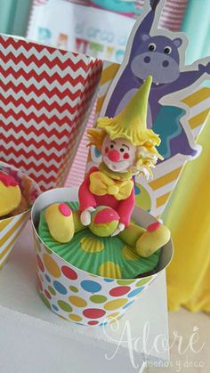Clown cupcakes at a circus birthday party! See more party planning ideas at CatchMyParty.com!