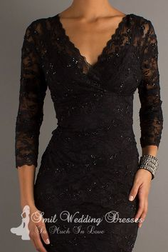 Short Black lace cocktail dresses with sleeves V-Neck Neckline. What is it about a black lace dress? Elegant!